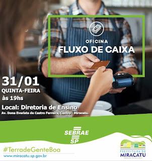 Sebrae de Miracatu realiza oficina fluxo de caixa para empreendedores
