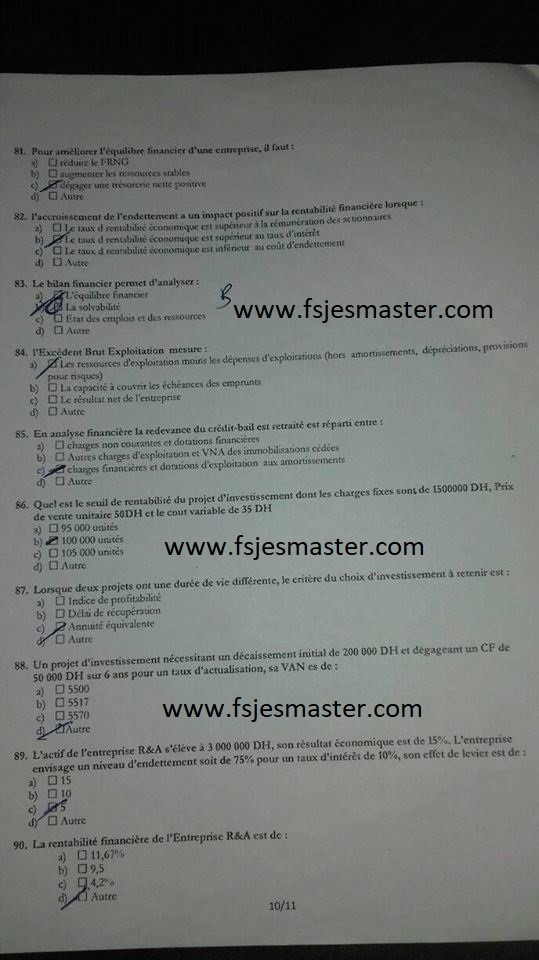 Exemple Concours d'accès au Master Gestion Financière Comptable et Fiscale (GFCF) 2017-2018 - Fsjes Agdal