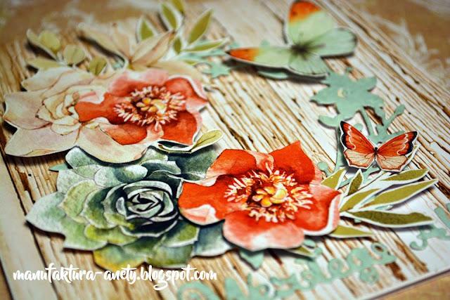 wianek z kwiatów wyciętych z papieru do scrapbookingu