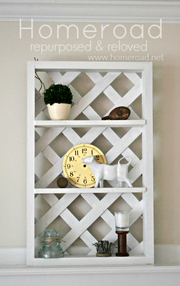 wooden lattice shelving with decorations and overlay