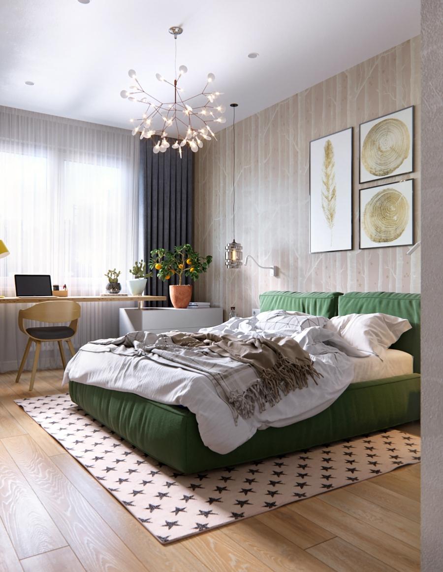 Stylowa aranżacja mieszkania z kolorowymi detalami - wystrój wnętrz, wnętrza, urządzanie mieszkania, dom, home decor, dekoracje, aranżacja wnętrz, minty inspirations, styl skandynawski, nowoczesne wnętrze, naturalne drewno, kolorowe akcenty, geometryczne wzory, stylowe wnętrze, sypialnia, bedroom, łóżko, szfka nocna, stolik nocny, biurko, tapeta w pnie drzew