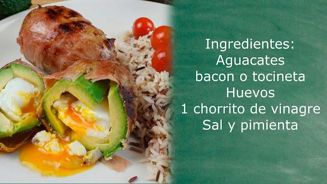 ingredientes aguacate con huevo y bacon