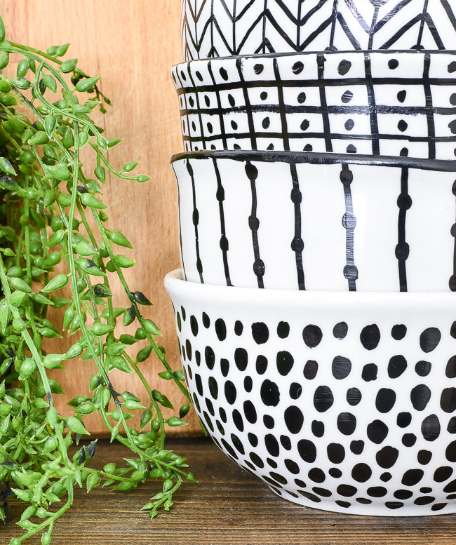 DIY dishwasher safe no bake Sharpie art bowls