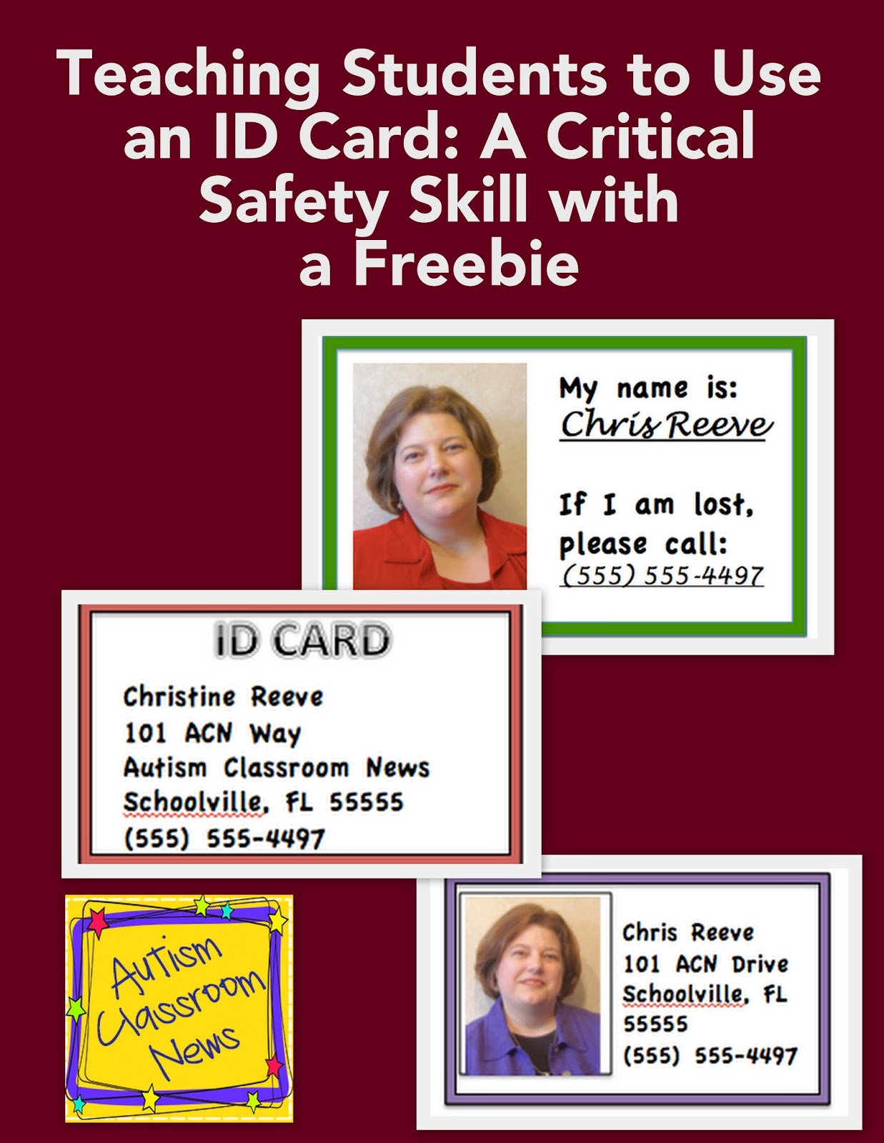 Teaching Students To Use An Id Card A Critical Safety Skill With A Freebie