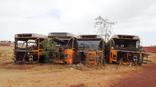 In the graveyard are many old busses to watch for tourists