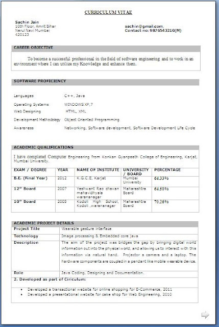b tech final year resume