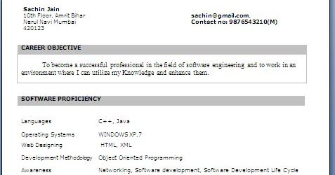 btech final year resume - Sample Resume For 3rd Year Engineering Students