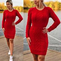 Rochie scurta tricotata rosie casual de zi •