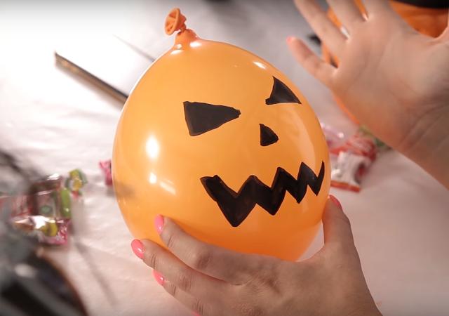 calabaza, halloween, globo, naranja, invento, casero, ninos