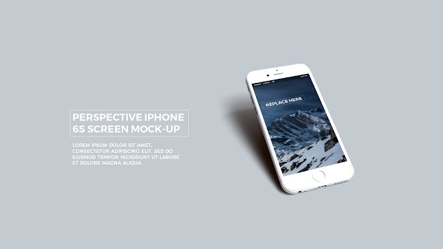 Free PowerPoint Template with Realistic iPhone 6s APP UI Mockup in Grey Background