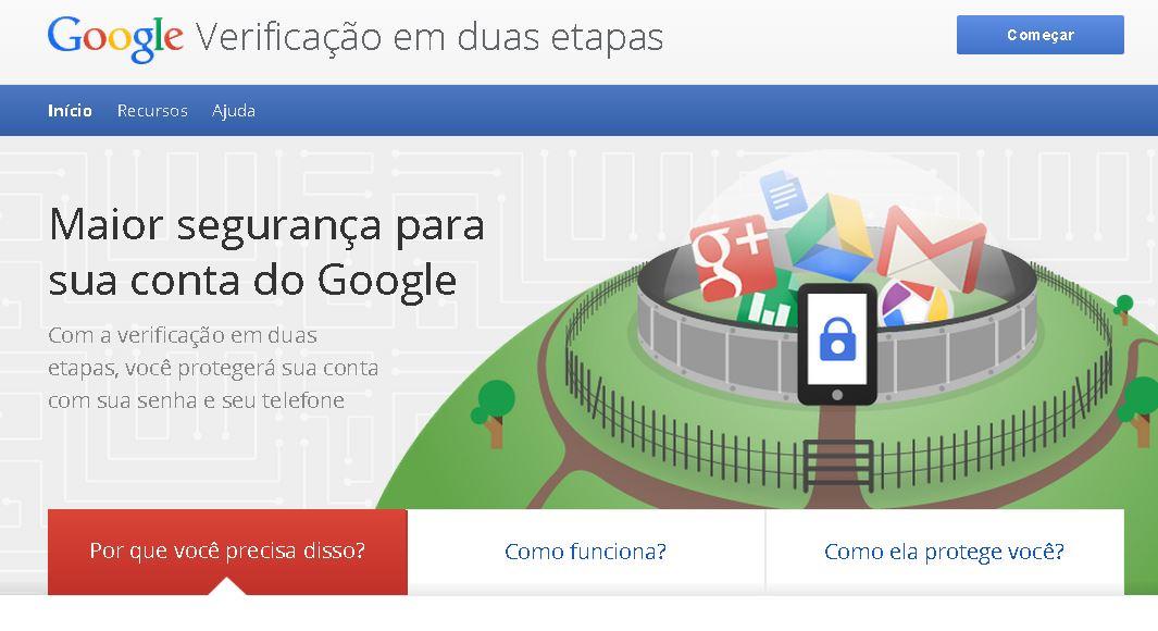 Página de Configuração da Verificação em duas etapas do Google