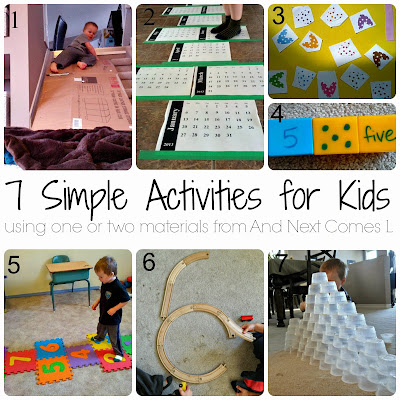 7 more simple activities for kids using one or two materials from And Next Comes L