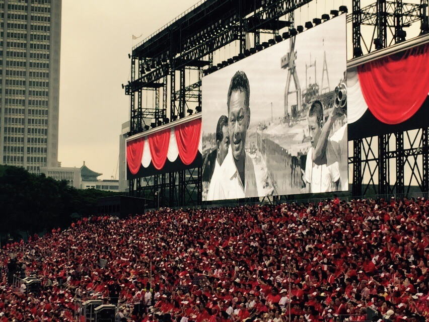 Emotional scenes as a tribute film for the late Mr Lee Kuan Yew is played out at the National Day Parade.