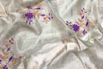 Pure Handloom Silver Tissue Sarees