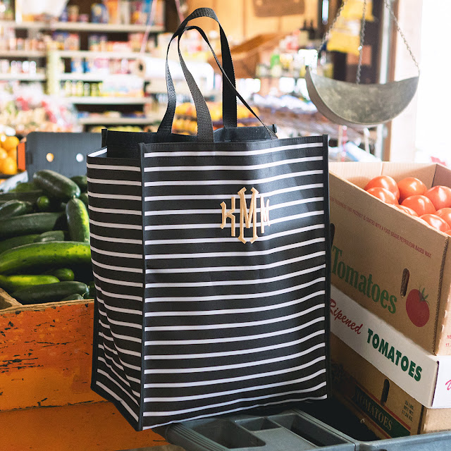 black and white stripe reusable shopping bag