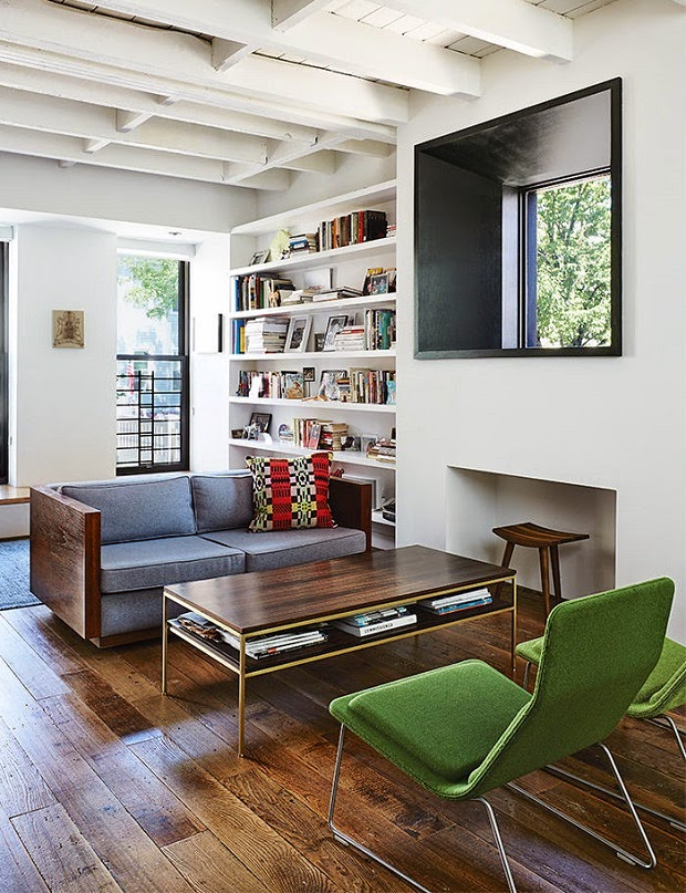 zona de estar de estilo años 50 retro mid century