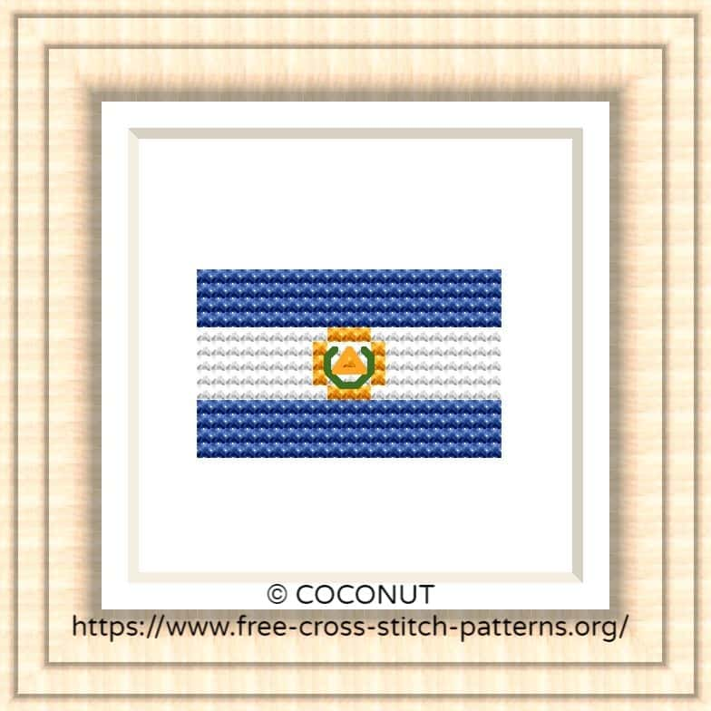 NATIONAL FLAG OF EL SALVADOR CROSS STITCH CHART