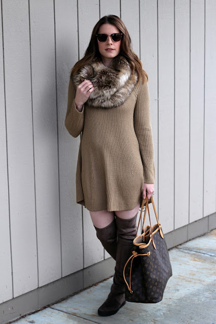 Sweater dress and over the knee boots - stuart weitzman