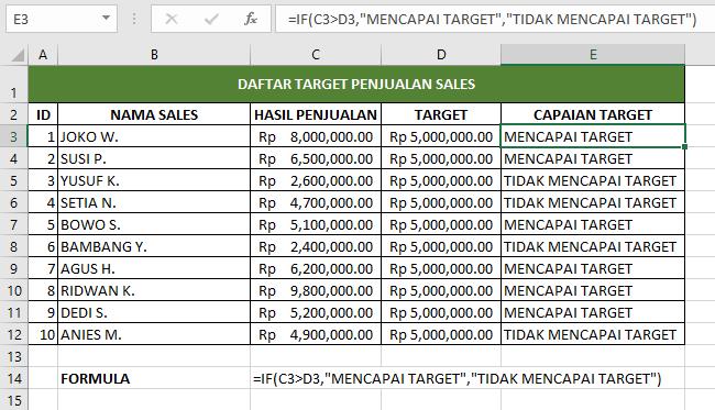 Contoh rumus formula IF dalam tabel target penjualan