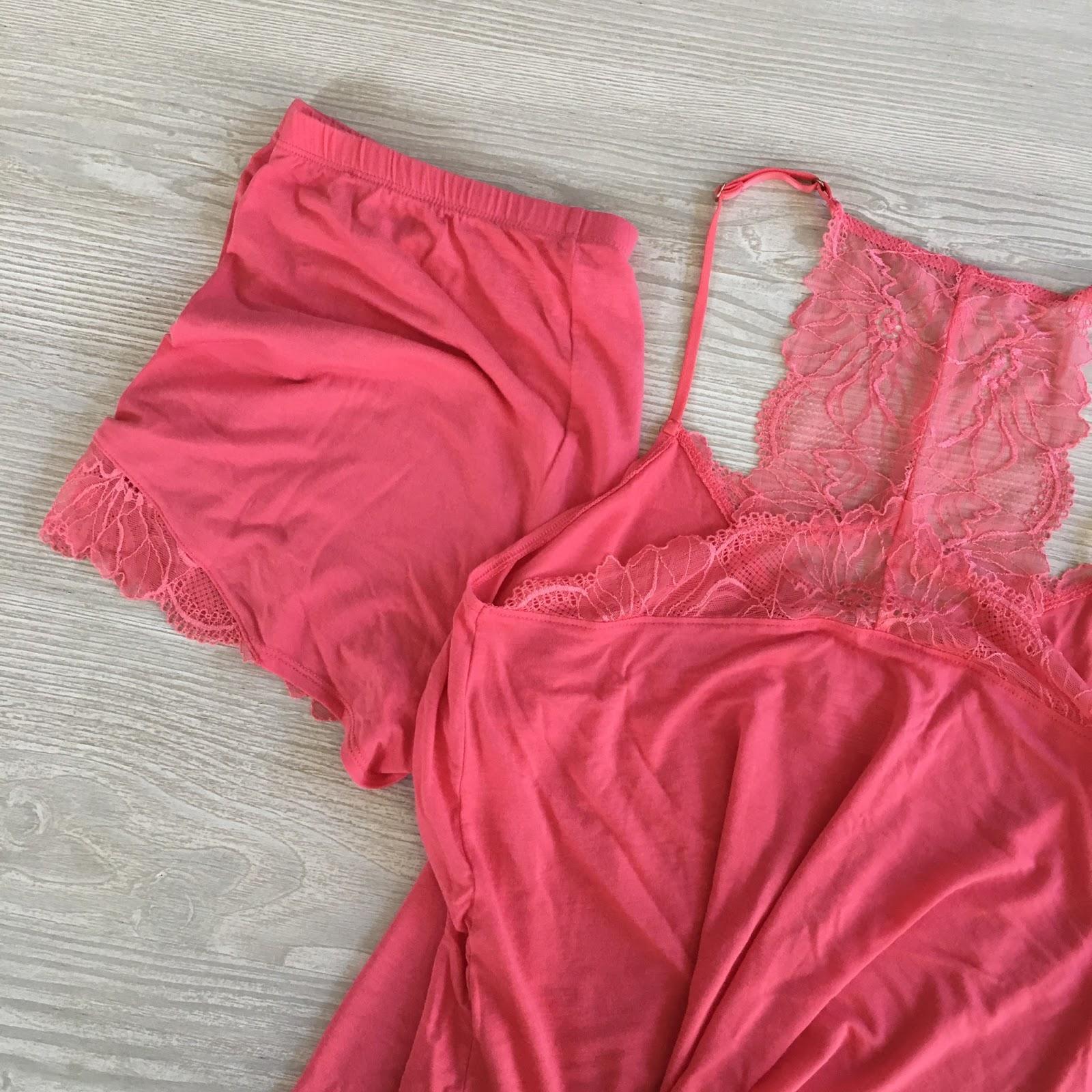 orange lace pj set