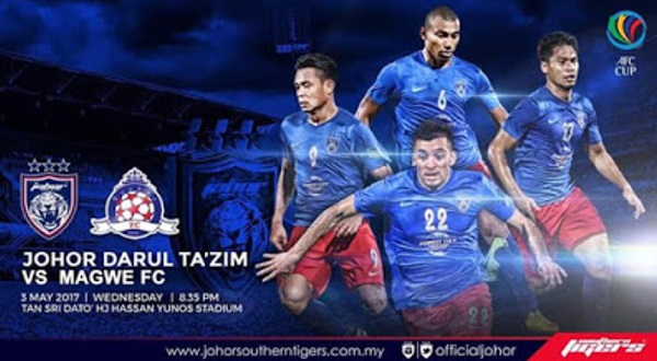 Live Streaming JDT FC vs Magwe FC AFC Cup 3 Mei 2017
