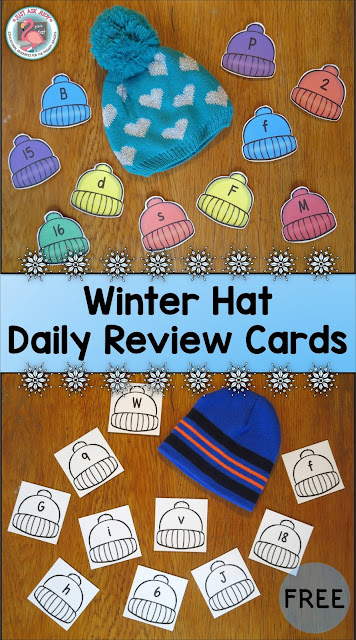 These free winter hat upper and lowercase and number (0-20) cards are perfect for daily review in preschool and kindergarten.