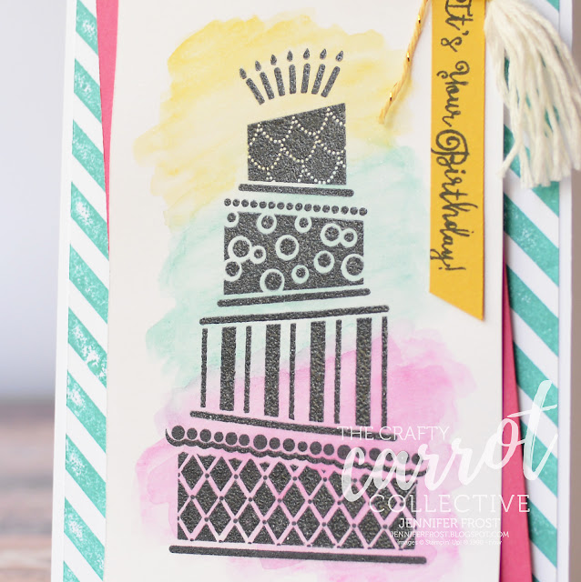 Cake Crazy, The Crafty Carrot Collective, Watercolor Pencils, Diagonal Stripe Background, Stampin' Up! Birthday Card by Jennifer Frost