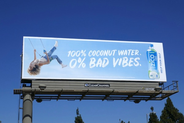 Zico 100% Coconut Water 0% Bad Vibes swing billboard