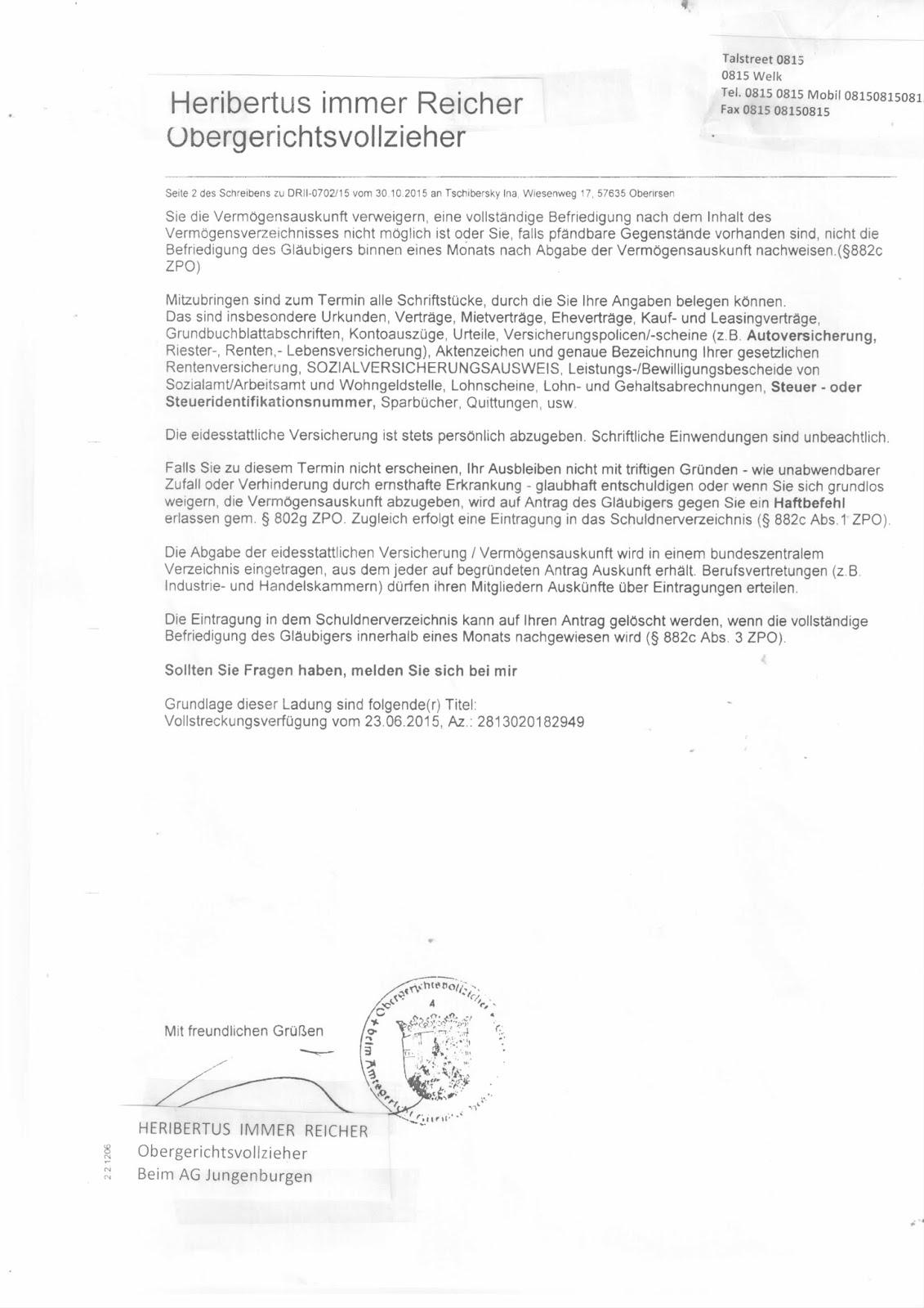 abgesonderte eintragung schuldnerverzeichnis
