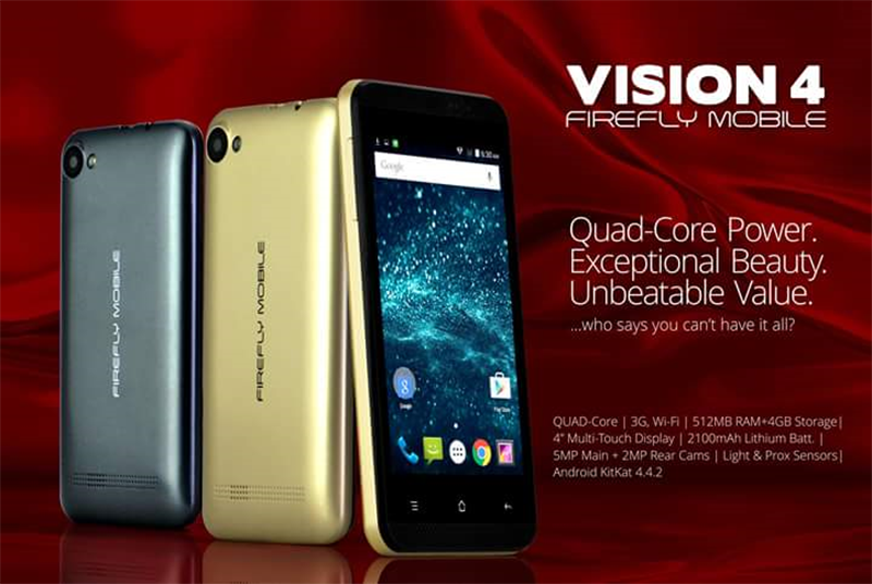 Firefly Mobile Vision 4 Announced, 4 Inch Quad Core With HSPA+ Priced At 1899 Pesos!