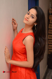 Telugu Actress Divya Nandini Stills in Orange Sleeveless Gown at Chennai Chaitrama Movie le Launch Event  0047.JPG