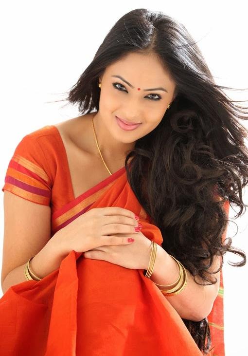 South Indian Actress Nikesha Patel Hip Navel In Transparent Red Saree