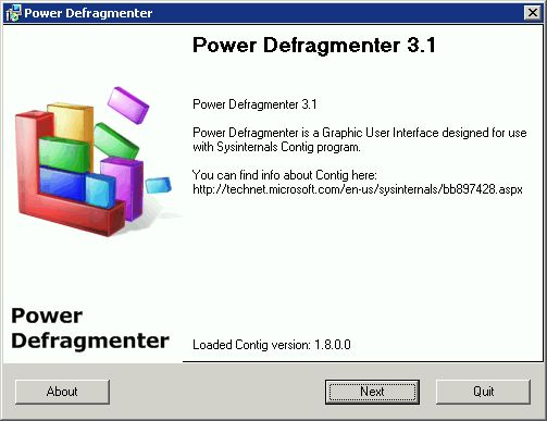 Supratim Sanyal's Blog: Power Defragmenter GUI initial screen