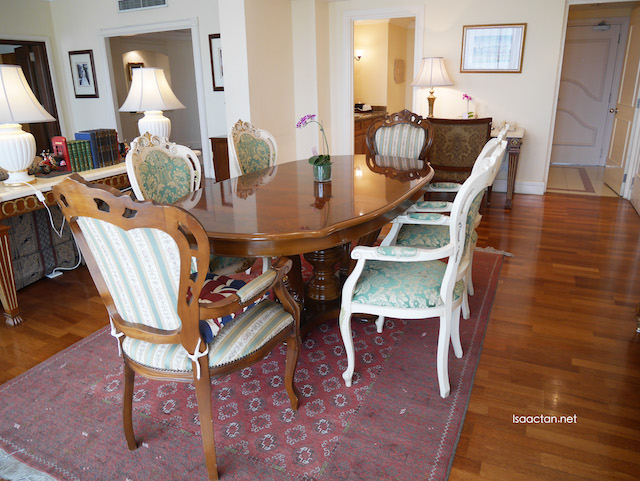 Large space, to accommodate a living room and a table to sit and dine at
