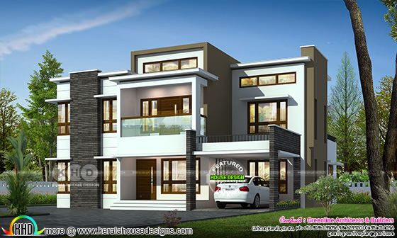 2862 square feet 4 BHK flat roof decorative home plan