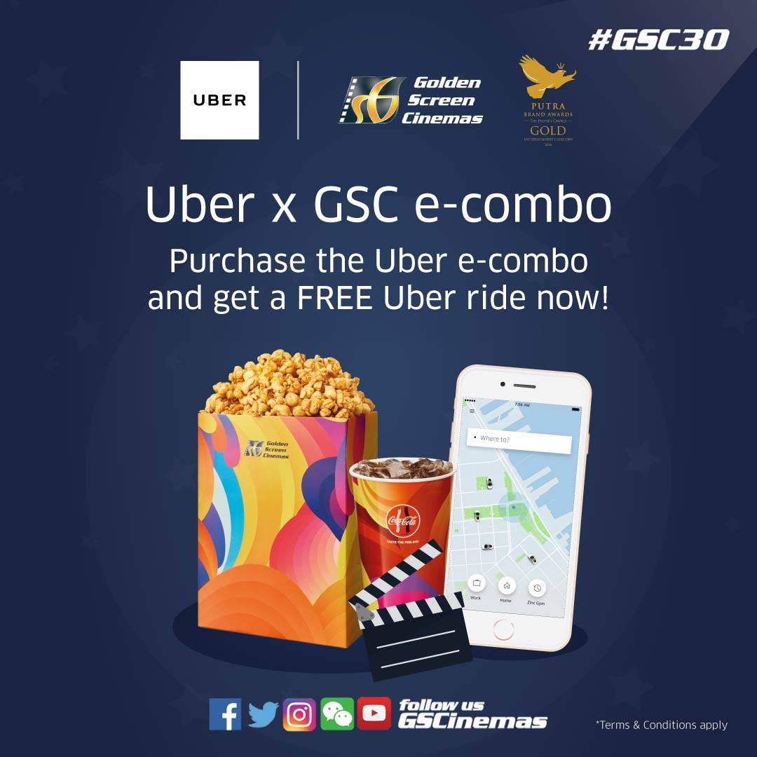 FREE Uber Ride worth RM5 Uber x GSC - Promo Codes MY