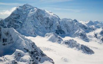 Wallpaper: Alaska. Landscape. Snow. Mountain Peaks