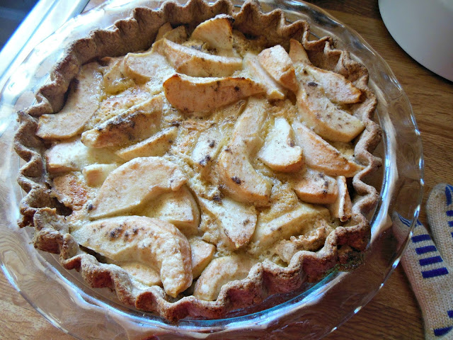 Pear Creme Pie, with a whole wheat crust (also dairy free).
