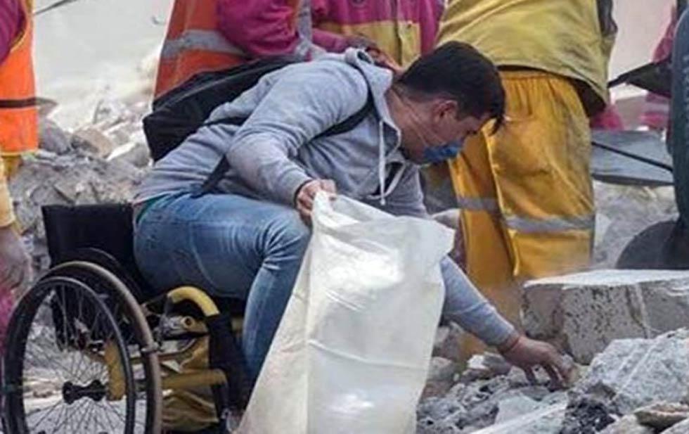 Viajo mas de 300 km en su silla de ruedas para rescatar a su amigo victima del terremoto