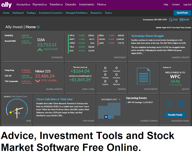 Advice, Investment Tools and Stock Market Software Free Online