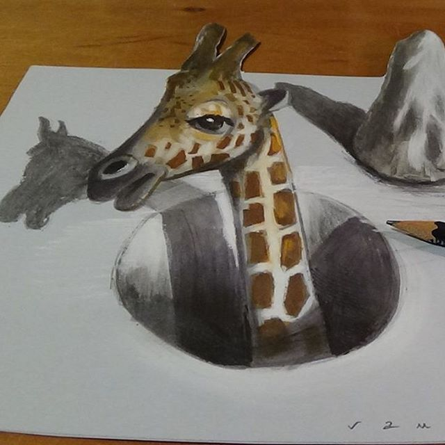 09-Giraffe-Vámos-Sándor-3D-Art-and-Optical-Illusions-Drawings-and-Videos-www-designstack-co