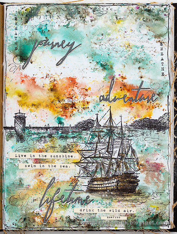 Layers of ink - Dramatic Seascape Journal Page by Anna-Karin Evaldsson.