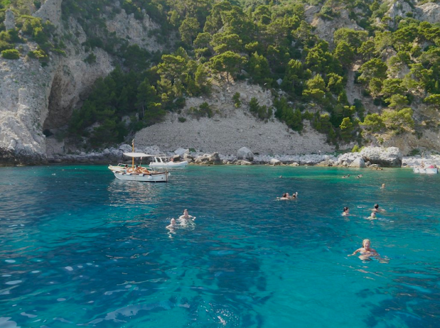 Swimming in the coves near Positano