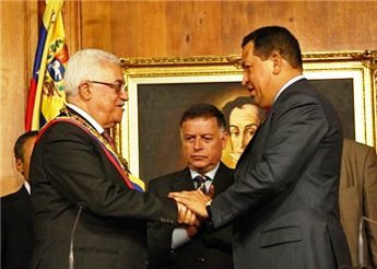 President Abbas pictured with Venezuelan president Hugo Chavez