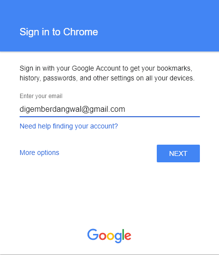 Google Chrome Sign in