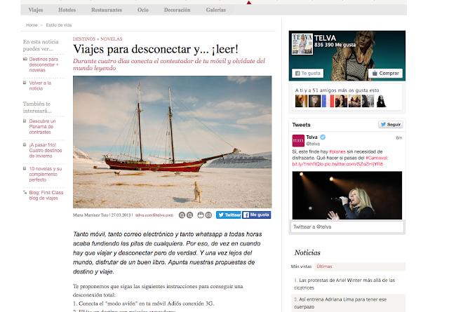 """Captura de pantalla de la web de Telva y el texto """"Viajes para desconectar y ...¡leer!"""""""