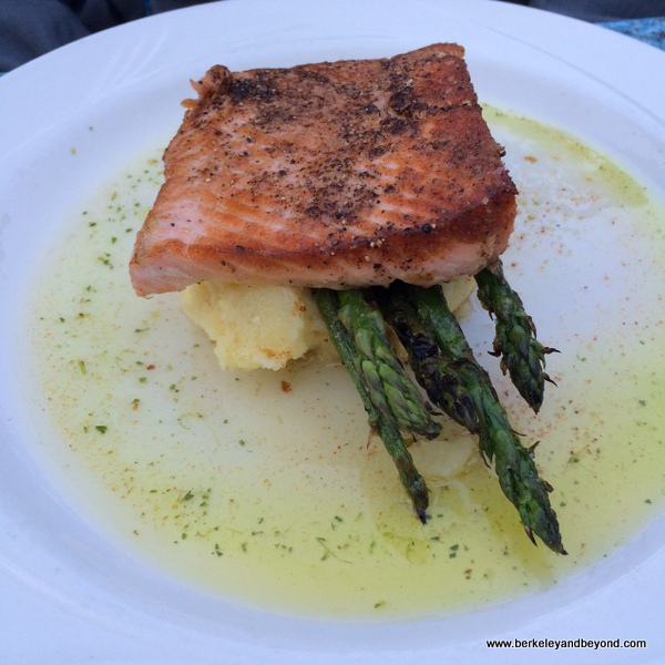 salmon plate at Benbow Historic Inn restaurant in Garberville, California
