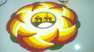 Pookkalam or flower carpet created on Onam