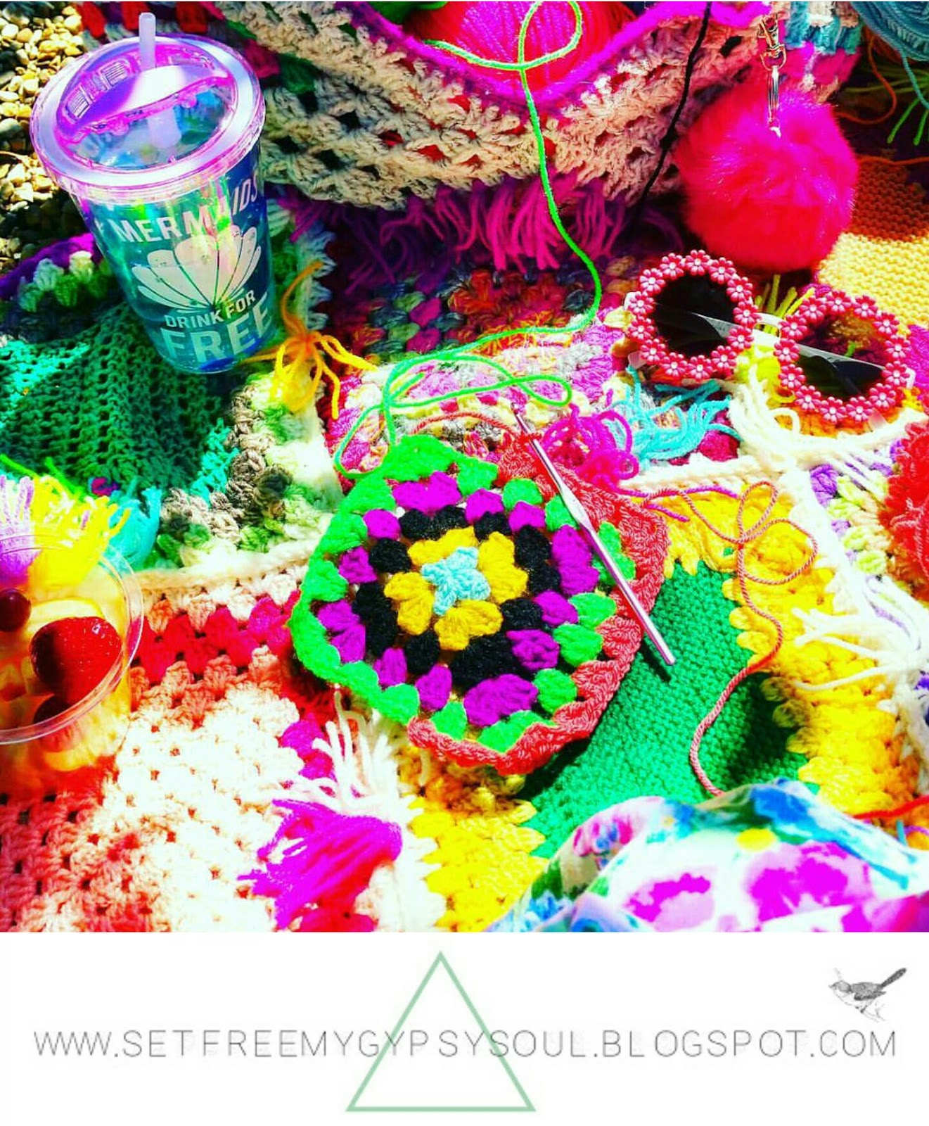 granny squares crochet outside urban boho bright color colorful yarn
