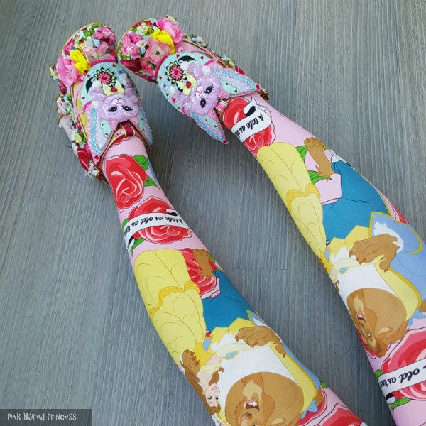 beauty and the beast disney tights worn with floral shoes
